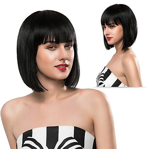 Glueless Human Hair Wigs with Bangs None Lace Front Wigs 130 Density Brazilian Short Bob Wigs for Black Women 10 inch