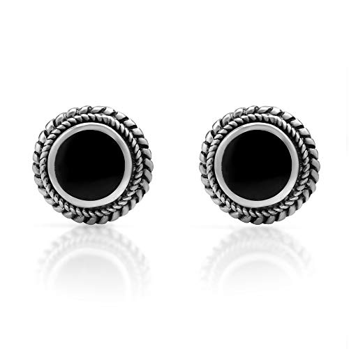 925 Sterling Silver Post Stud Earrings - Chuvora Jewelry - Bali Inspired Braided Black Onyx Stone