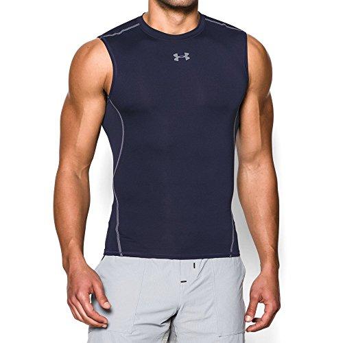 Under Armour Men's HeatGear Armour Sleeveless Compression Shirt, Midnight Navy/Steel, (Under Armour Running Gear)