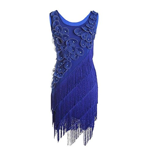 Anxihanee Women 20S Beaded Fringe Scalloped Petal Hem Origami Flapper Party Dress (Blue) (Flapper Dancer)