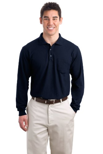 Port Authority Men's Long Sleeve Silk Touch Polo with Pocket XL Navy