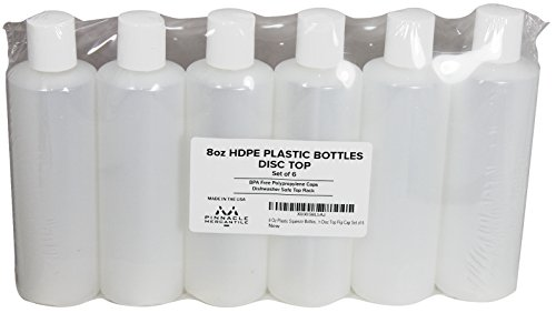 Pinnacle Mercantile 8 Oz Plastic Squeeze Bottles with Disc Top Flip Cap Set of 6 Empty by