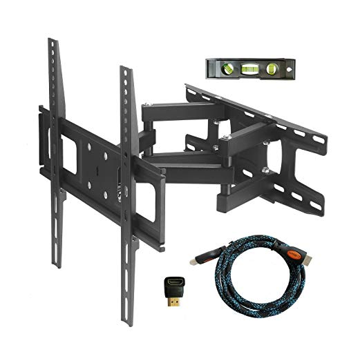 TV Wall Mount Bracket with Full Motion Articulating Dual Arm Swivel Tilt fit 23 32 37 42 47 50 55 Inch Flat Screen TVs,VESA 400X400 and 110lbs,Fits up to 16