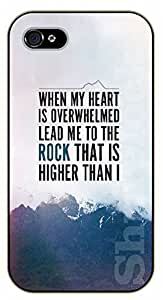 iPhone 5 / 5s Bible Verse - When my heart is overwhelmed lead me to the rock that is higher than I. Mountains - black plastic case / Verses, Inspirational and Motivational Kimberly Kurzendoerfer