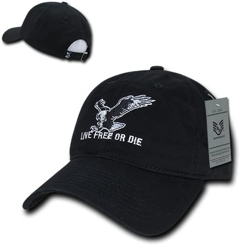 Black Rapiddominance Relaxed Graphic Cap with Live Free or Die