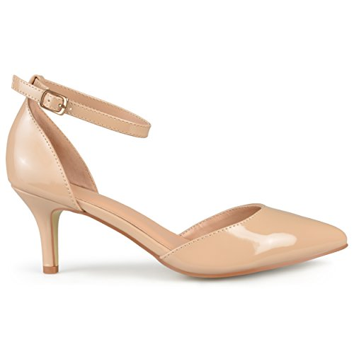 Brinley Co. Womens Ankle Strap Patent Pumps Nude 7