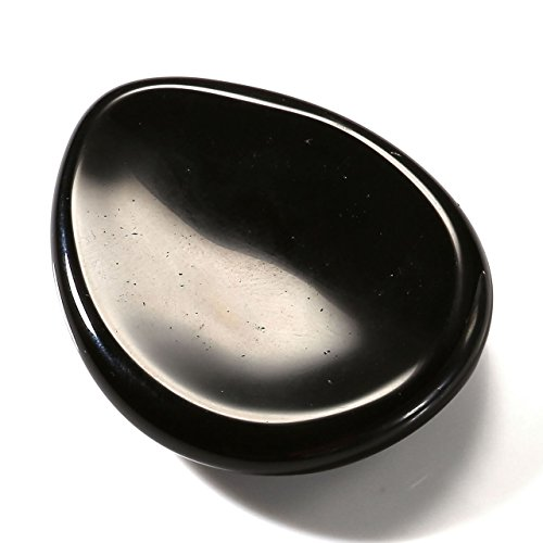 PESOENTH Black Obsidian Thumb Worry Stone, Natural Polished Palm Pocket Stones Reiki Chakra Healing Crystals Therapy Gemstone for Anxiety Stress, Water Drop Shaped
