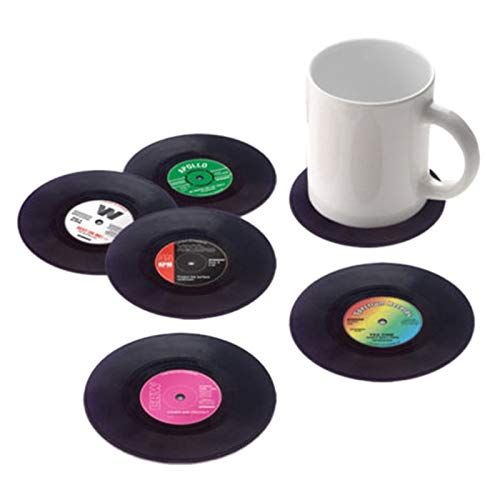 (Mats & Pads - Brand 6 Pcs Vinyl Coaster Groovy Record Cup Drinks Holder Mat Tableware Placemat - Coaster & Vinyl Table Drink Coaster Vinyl Player Projector Holder Drink Vinyl)