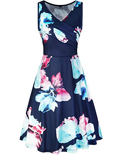 be31490dce92 KILIG Women's Floral Print Dress,Casual Sleeveless V Neck A Line Elegant  Dresses with Pockets