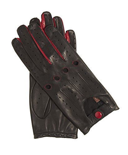 (Fratelli Orsini Everyday Women's Open Back Leather Driving Gloves Size 8 1/2 Color Black Red)