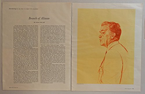 Judson B  Branch  New Prwsident Of Allstate Insurance Company  Scarce 50S Print Ad  Full Color Illustration By Miria Troop 1957 Fortune Magazine Art