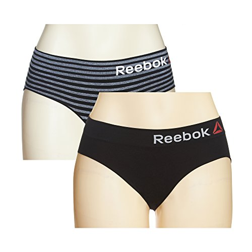 Reebok Ladies 2 Pack Seamless Hipster Black/Grey Ombre Stripe Extra Large