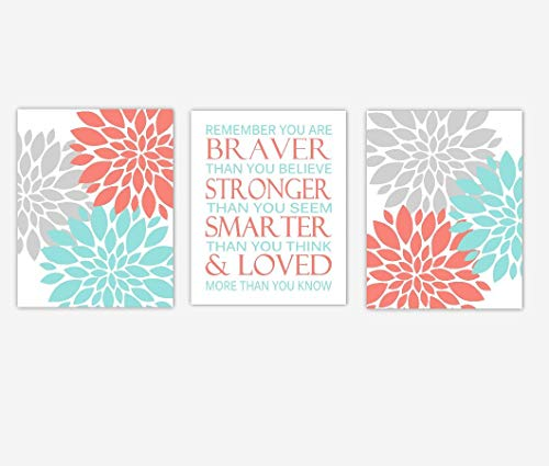 Coral Teal Flower Dahlia Mums Remember You Are Braver Baby Girl Nursery Decor Bedroom Prints SET OF 3 UNFRAMED -