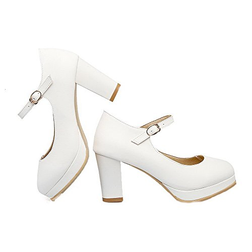 PU Buckle White High Round Solid Shoes WeiPoot Women's Toe Pumps Heels wI64qq1nX