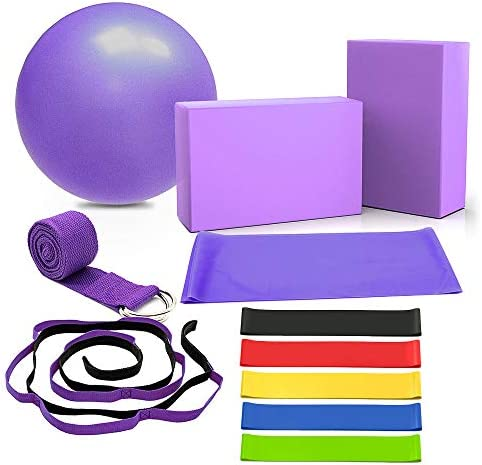 DALV 11 Pieces Yoga Set Beginner Equipment, Fitness Yoga Ball (10 inch) Yoga Blocks Stretch Strap Resistance Loop Bands (5-40LBS) Exercise Yoga Cotton Strap