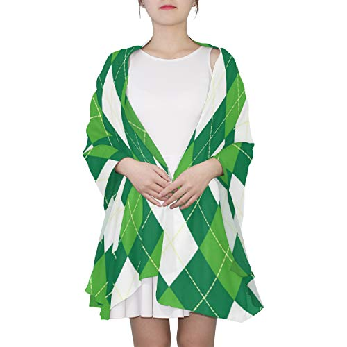 Argyle Pattern Green White Sheer Scarves Shawl Wrap Outdoor Oblong Chiffon Scarf For Women