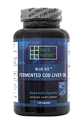BLUE ICE Fermented Cod Liver Oil -Non-Gelatin 120 Capsules- Box of 12 by BLUE ICE