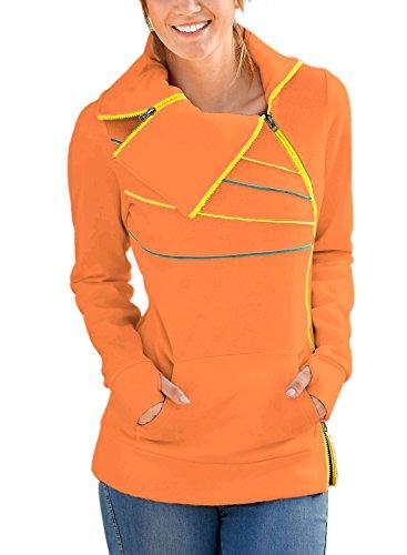 FIYOTE Women High Necked Jumper Plain Casual Sweatshirts Hoodies Medium Size Orange