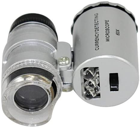 1 X 60 X Mini Pocket Mikroskop Lupen Juwelier Lupe LED /& UV-Licht NEU NEW.^