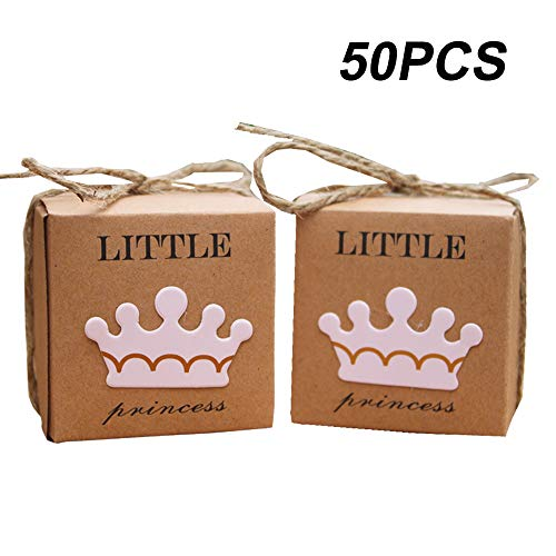 Amajoy 50pcs Little Princess Baby Shower Kraft Favor Boxes with 50pcs Twine Bow, Rustic Kraft Candy Box Cute Birthday Decoration- with Little Prince Favor Box As Option, Pink/Blue (Pink) -