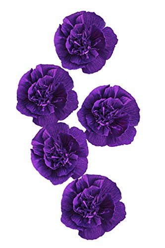 Letjolt Paper Flower Decorations Purple Crepe Paper Flower for Wedding Christmas Flowers Decorations Baby Shower New Year Party Decorations Nursery Flower Home Wall Decor(Set 5)