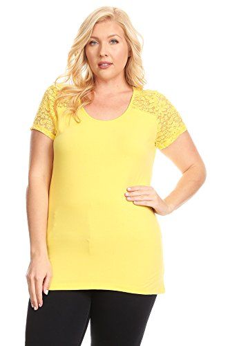 Ambiance Apparel Plus Size Short Sleeve Solid Jersey Knit Top with Paneled Lace Detail (3XL, (Yellow Knit Top)