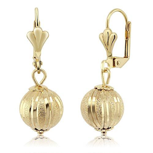 Stunning 1-1/4 Dangle Spheres Gold Plated Brass Lever-Back Womens Earrings