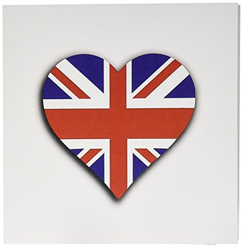 3dRose British Flag Heart UK Union Jack for England and Great Britain Fans Greeting Cards, Set of 12 (gc_184870_2)