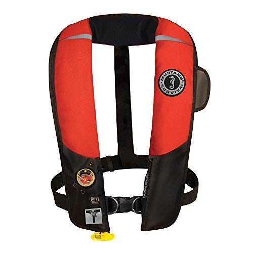 (Mustang Survival Corp Inflatable PFD with HIT (Auto Hydrostatic) with Harness, Red/Black by Mustang)
