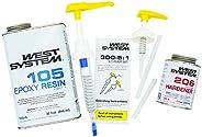 West System 105A Epoxy Resin (32 fl oz) Bundle with 206A Slow Epoxy Hardener (7 fl oz) and 300 Mini Pumps Epox