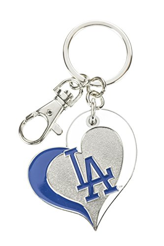 aminco MLB Los Angeles Dodgers Swirl Heart Key Ring