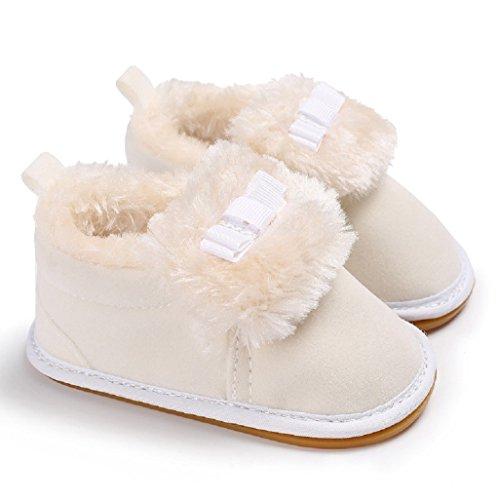 Botas 18 Pequeños Bebé Invierno 0 Niños Calzado Bowknot Calzados Nieve De Mes Primero Zapatos Auxma Blanco Para 6Sznq