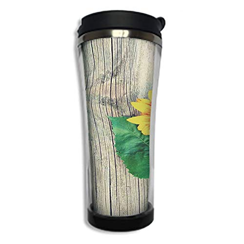 Travel Coffee Mug 3D Printed Portable Vacuum Cup,Insulated Tea Cup Water Bottle Tumblers for Drinking with Lid 14.2oz(420 ml)by,Sunflower Decor,Sunflower on Wooden Old Board Bouqet Floral Gifts of Mot