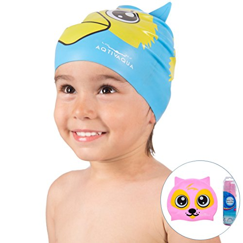 AqtivAqua Silicone Swimming Cap for Boys and Girls (ages 2-9) + Storage Tube by Comfortable and Easy to Use Protective Swim Cap for Kids (Pink ()
