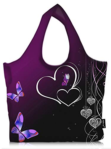 Water Resistance Foldable Large Grocery Shopping Bag, Reusable Light Weight Eco-friendly Tote - Butterfly Heart -