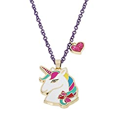 """Jojo Siwa Unicorn With Heart Charm Pendant Necklace, 16"""" + 3"""". This magical Jojo Siwa Unicorn pendant is adorned with a heart charm and hangs from an adjustable 16"""" chain with 3"""" extender. The Jojo Siwa Unicorn With Heart Charm Pendant Neckla..."""