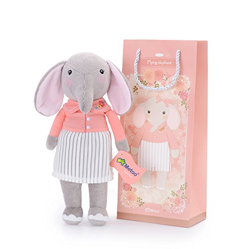 Me Too Stuffed Elephant Dolls Pink Shirt White Dress 12'' +Gift Bag - 12' Doll Toy