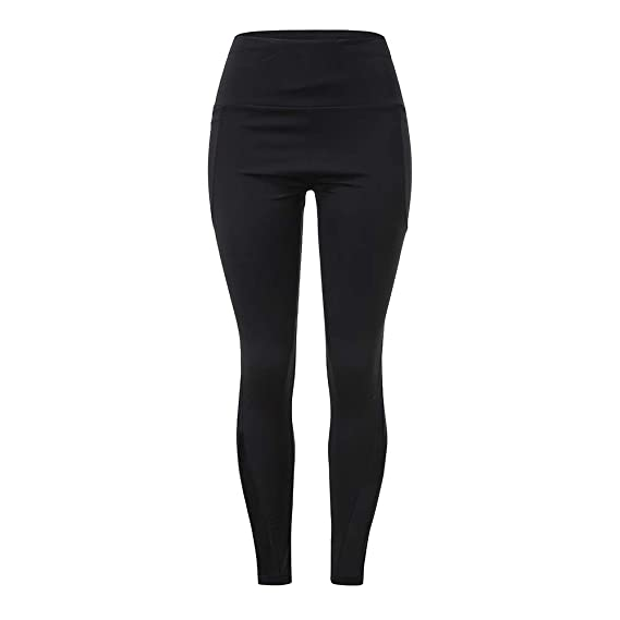JOFOW Womens Solid Leggings High Waisted Casual Pocket ...