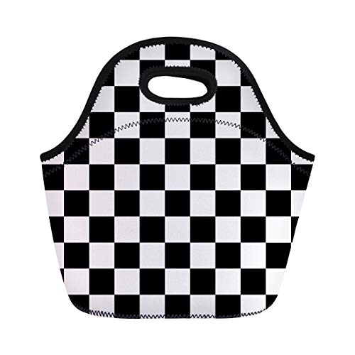 Semtomn Neoprene Lunch Tote Bag Race Abstract in Black and White Squares Checkered Pattern Reusable Cooler Bags Insulated Thermal Picnic Handbag for Travel,School,Outdoors,Work