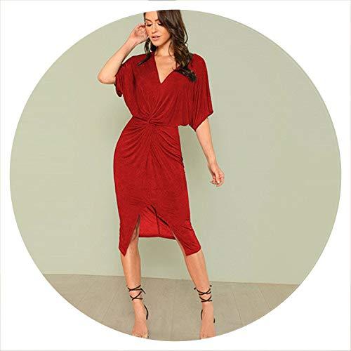 Red V Neck Twist Front Half Sleeve Split Sexy Bodycon Dress Solid Elegant Midi Party Dress Women Dresses,Burgundy,S