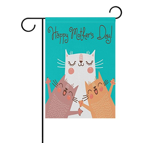 ALAZA Mother's Day Garden Flag Yard Decoration, Cat Mom and