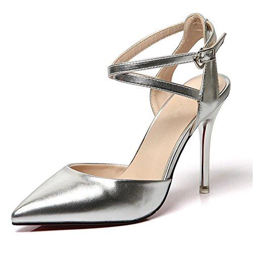 Nouvelle Talon Tête En Les De Bien Chaussures Silver HXVU56546 Haut Avec Été Chaussures La L'En Sandales Avec Sandales Astuce Pour Du Femmes wIaq6vz5