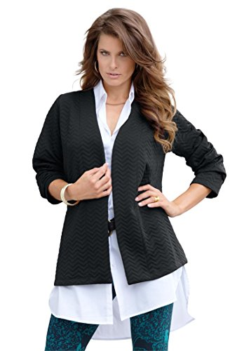 Roamans Women's Plus Size Quilted Knit Jacket – Small, Black