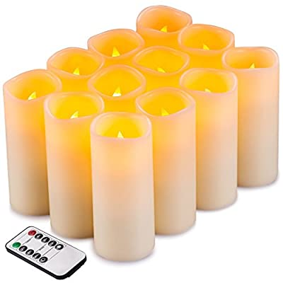 "Flameless Candles Flickering LED Candles Set of 12 (D:2.2"" X H:5"") Ivory Real Wax Pillar Battery Opeated Candles with 10-key Remote and Cycling 24 Hours Timer"