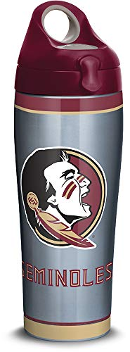 Tervis 1309962 Florida State Seminoles Tradition Stainless Steel Insulated Tumbler with Maroon Lid, 24oz Water Bottle, Silver ()