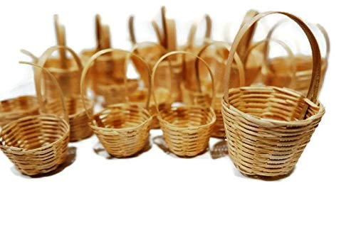 Mixed 20 Bamboo Wicker Holder Basket Fruit Vegetable Picnic Dollhouse Miniature Supply ()