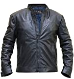 Tom Cruise Leather Jacket - Mission Impossible Fallout Black Leather Jacket (Blue - Ethan Hunt Leather Jacket, M/Body Chest 40' to 42')