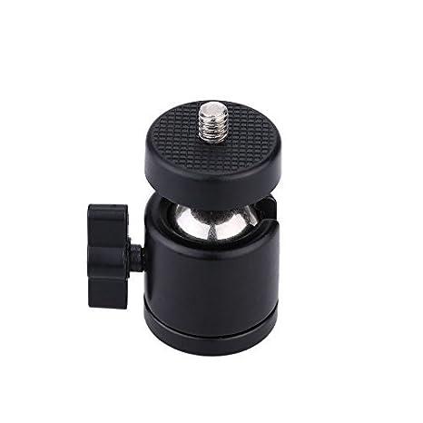 tr/ípode Mini Ball Head Cabeza de tr/ípode con Cabeza de Metal 360 /° con Soporte de Tornillo de 1//4para videoc/ámaras DSLR Mini Ballhead Plata