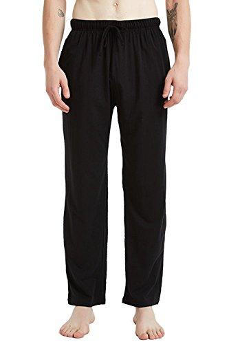 JINSHI Men's Loose-Fitting Pants Cotton Jersey Knit Pajama Pants Black Size L