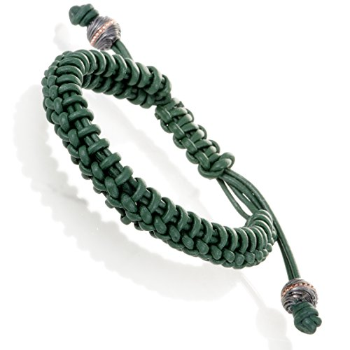 Stephen Webster No Regrets Unisex Green Leather and Gold Tone Silver Bracelet (Green Silver Leather)